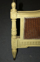 PAINTED FRENCH LOUIS XVI FULL SIZE CARVED BED CANE A392