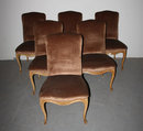 6 FRENCH LOUIS XV UPHOLSTERED PAINTED DINING CHAIRS