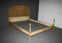 UNIQUE ANTIQUE FRENCH LOUIS XVI PAINTED CANE QUEEN BED