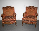 ANTIQUE FRENCH LOUIS XV CARVED BERGERE CHAIRS A382