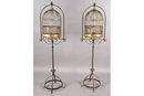 PAIR ANTIQUE BRONZE DOME TOP BIRD CAGES C. 1900   J6903