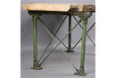 INDUSTRIAL TABLE WITH FREE EDGE BURLED WOOD TOP M3841