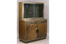 INDUSTRIAL STEPPED BACK CABINET WITH CHROME TRIM J6823