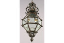 FRENCH BRASS HANGING LANTERN WITH SCROLL & LEAF DESIGN