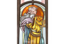 ANTIQUE PAIR LARGE DOORS STAINED GLASS FIGURAL WINDOWS