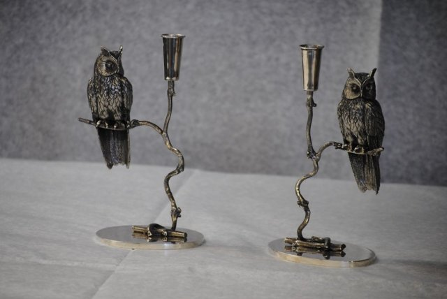 Pair owl shaped candlesticks Italian 1950