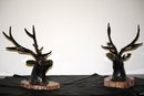 Pair bronze deer sculptures Italian 1940
