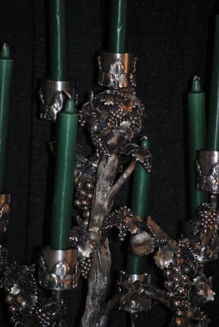 TREE OF LIFE sterling silver 7 lights candelabra Italian 1930