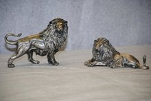 Couple of sterling silver lions Italian 1940