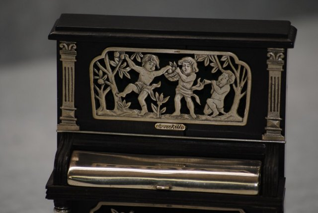 Miniature ebony and silver upright piano Italian 1950