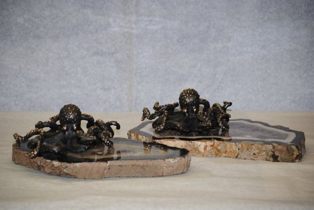Pair of bronze octopus Italian 1950