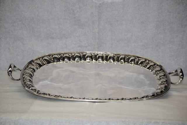 Antique silver oval tray Italian 1930's