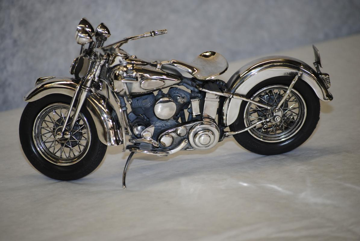 Italian sterling silver Harley Davidson Flathead 1940 motorcycle