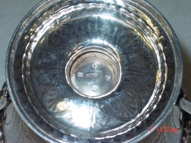 Pair antique Victorian sugar bowl and creamer Glasgow 1869