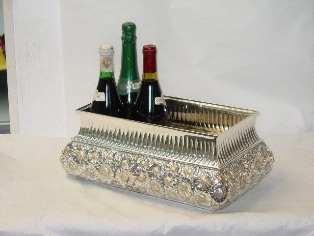 Daisies style rectangular cachepot Italian 1950