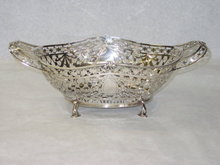 Antique oval pierced basket Sheffield 1910