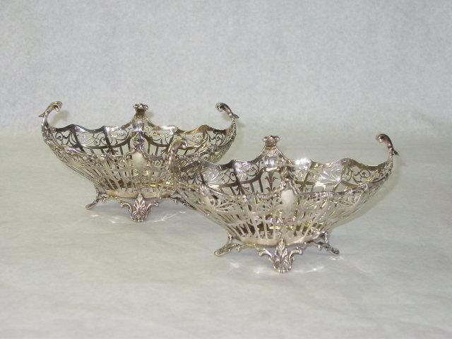 Antique pair pierced baskets London 1911