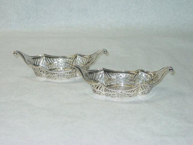 Antique pair pierced candies baskets London 1897