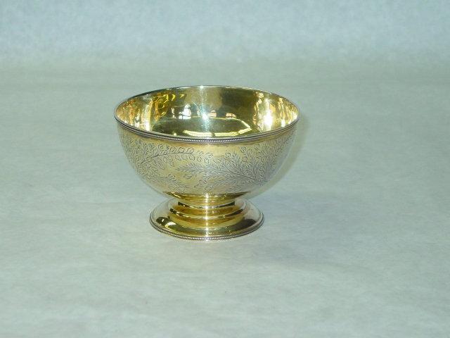 Antique vermeille candies bowl Victorian London 1876