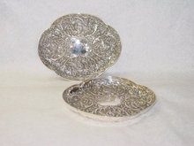 Antique pair of chased plates London 1890
