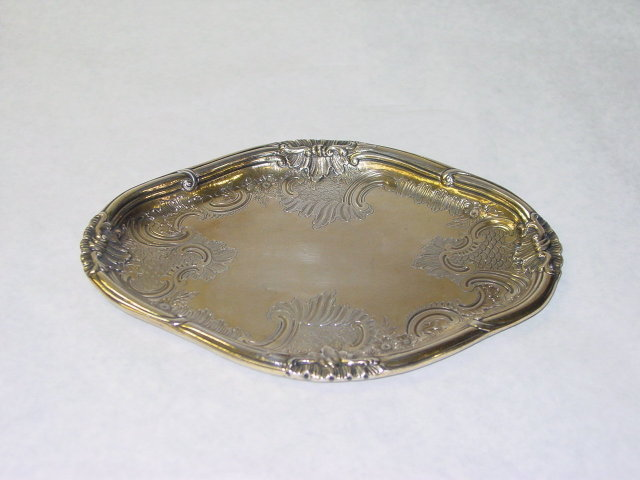 Antique vermeille chased plate Germany 1800