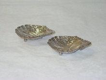 Antique pair shell spaed buuer dishes Edimbyrgh 1893
