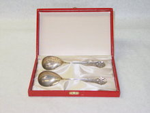 Antique pair marmalade spoons Denmark 1925