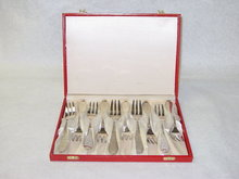 Antique dessert forks set Denmark 1934