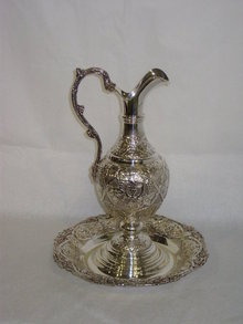 Grape style repoussè wine ewer with charger dish Italian 1950