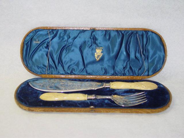 Antique fish serving set Victorian London 1877