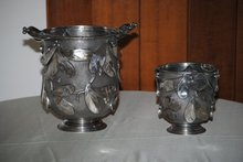Laurel leaves pair champagne and ice buckets Italian 1950