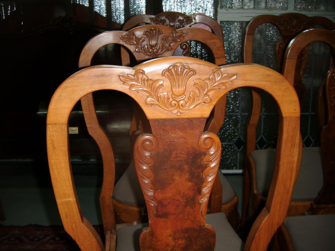 6 Burled Walnut and Chestnut Carved Chairs