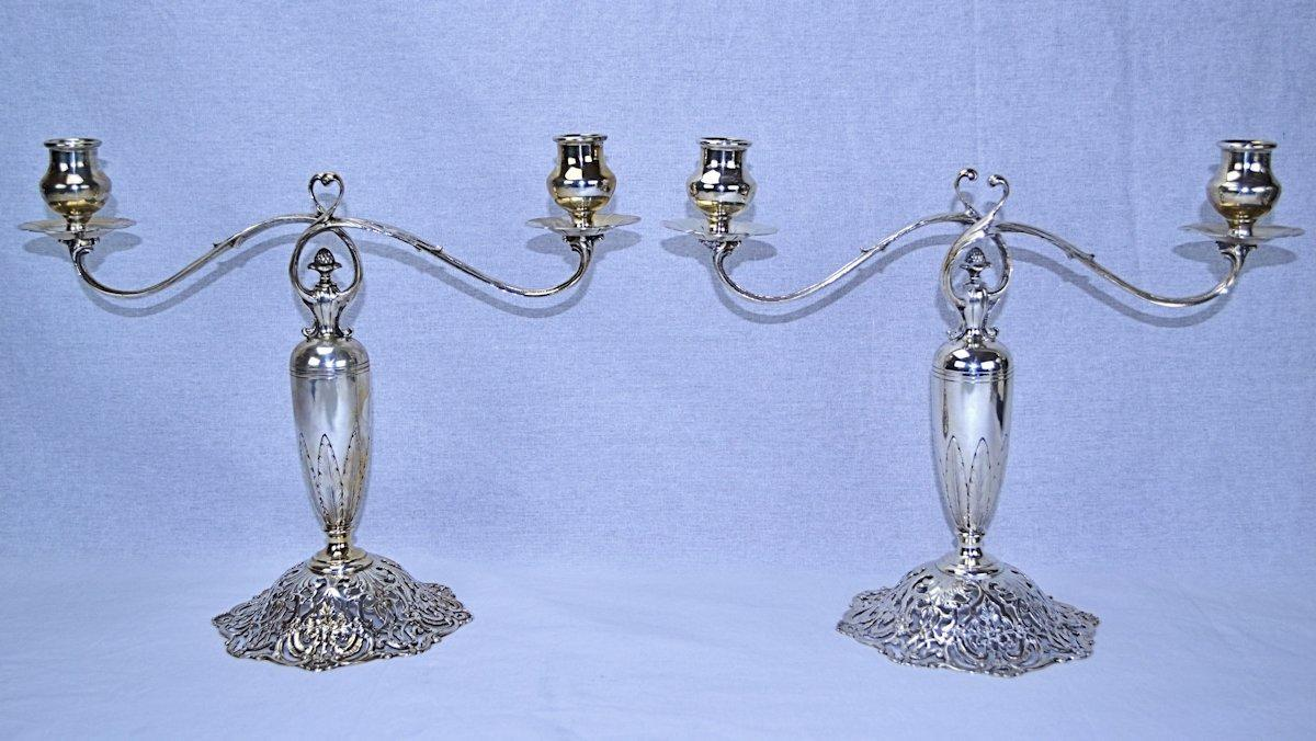 Sterling & Welch Sterling Silver Art Nouveau Candelabra