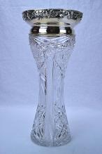 Gorham Sterling Silver Mounted Cut Glass Vase