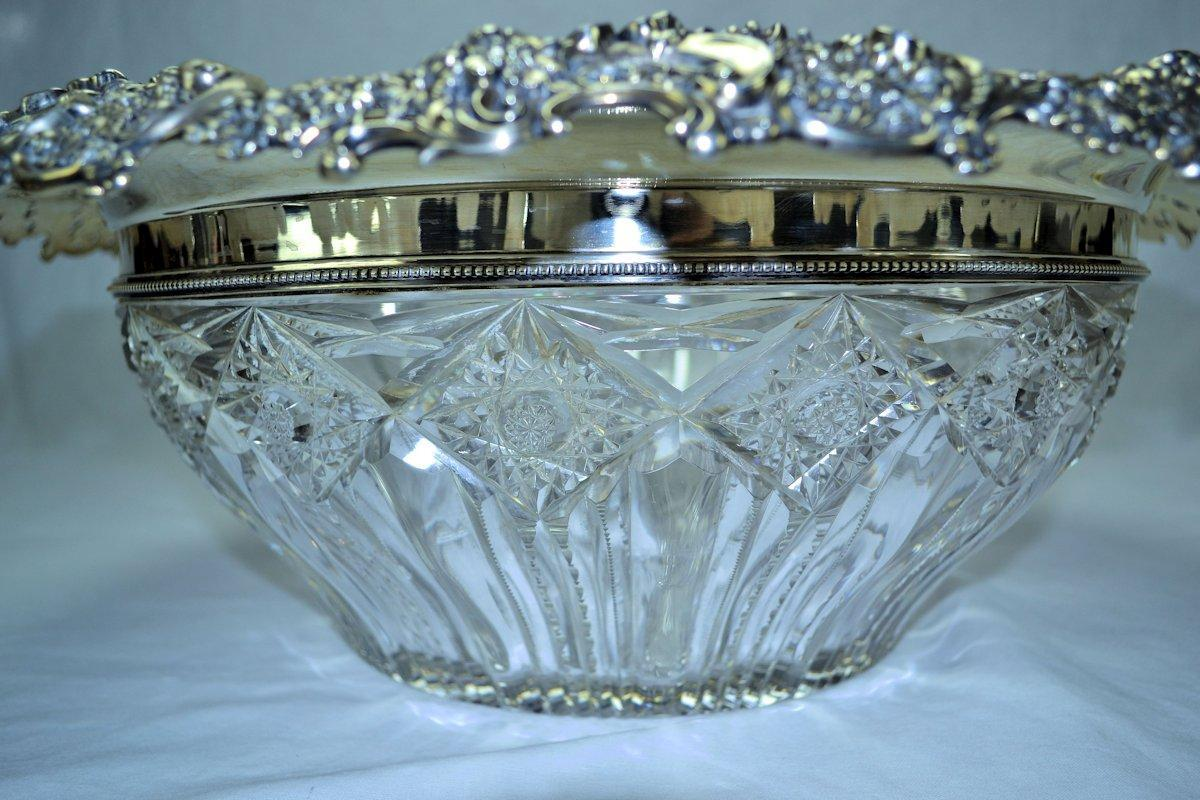 Redlich Sterling Silver Cut Glass Punch Bowl