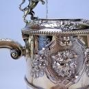 English Sterling Silver Mounted & Etched Crystal Wine Jug