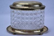 J.E.W & J. Barnard English Sterling Silver Cut Glass Biscuit Box