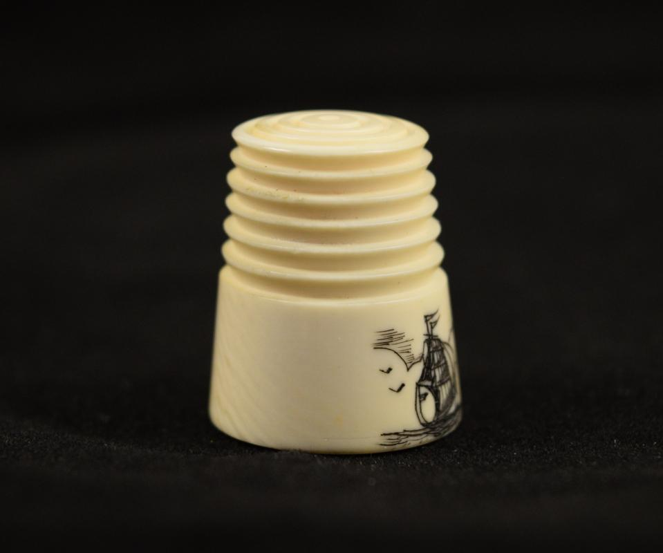 Antique Pre-Ban Ivory Sewing Collectible - Scrimshaw Sailboat Thimble