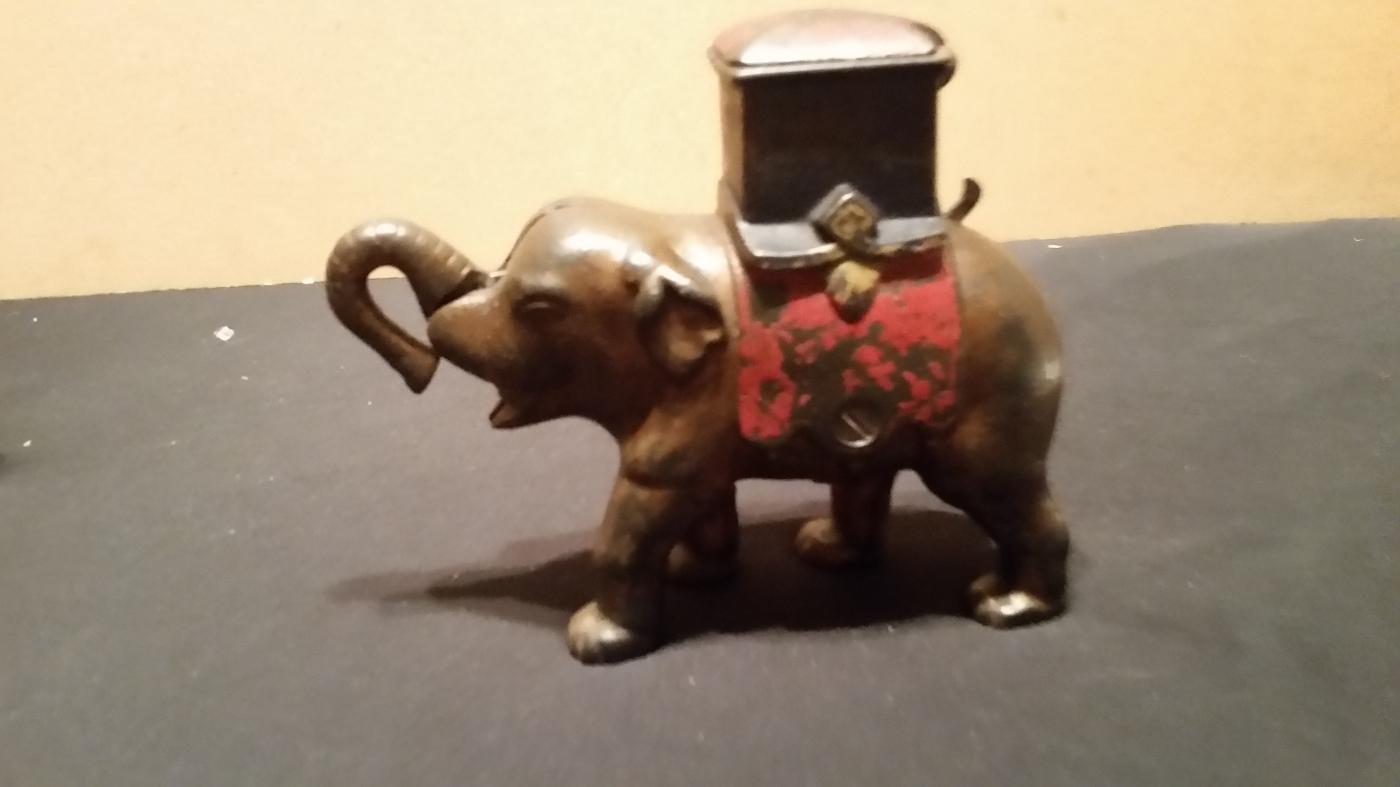 Mechanical Bank Elephant with Howdah Cast Iron Vintage