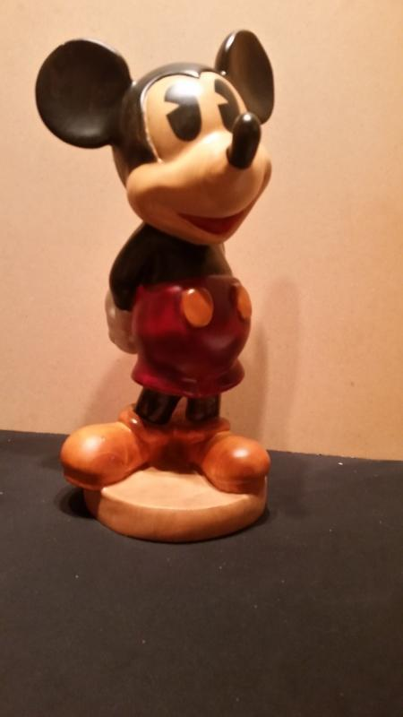 Michey Mouse Hand Carved Wood 18 Inches Tall