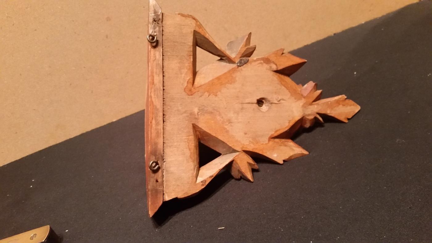 Carved Wood Deer Glass Eyes Shelf Holder