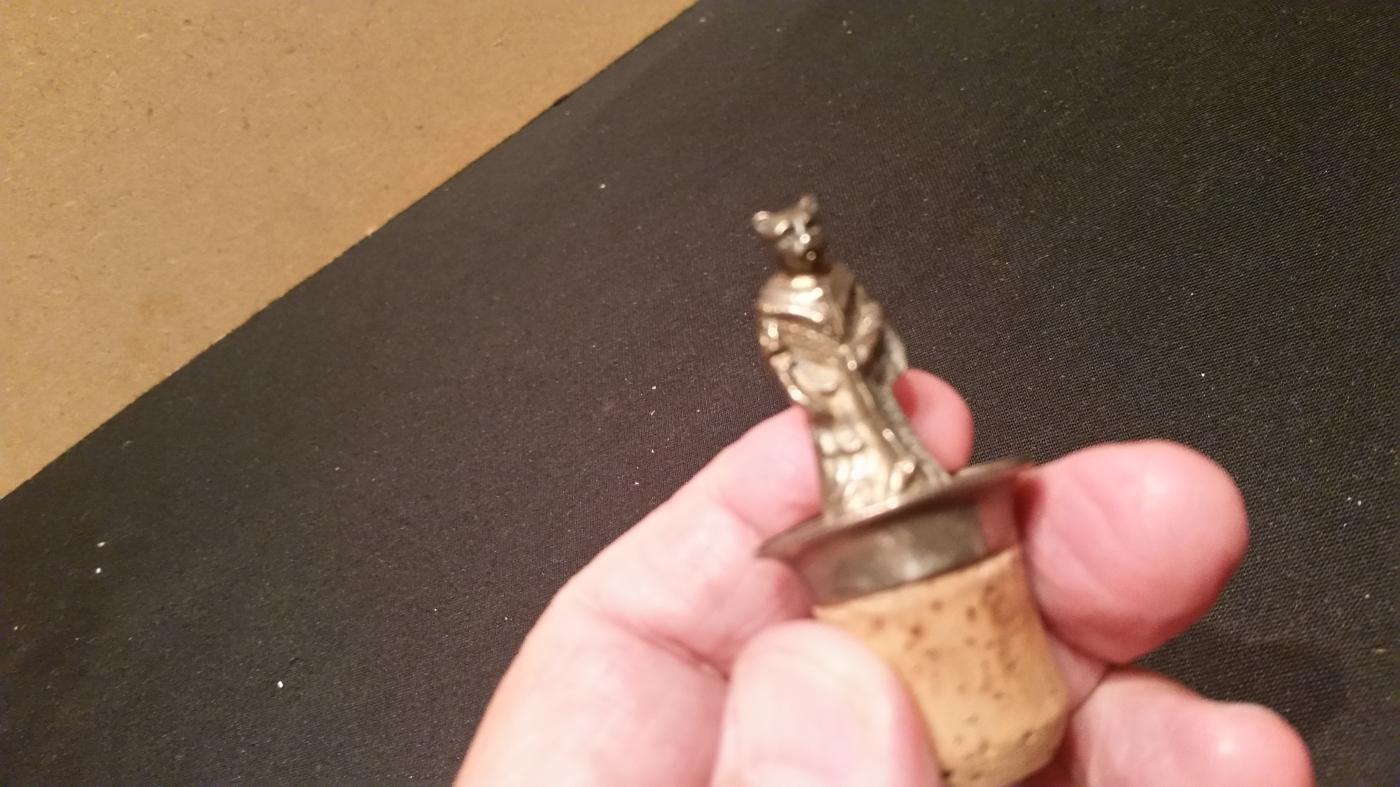 Silver Cat Bottle Stopper Small