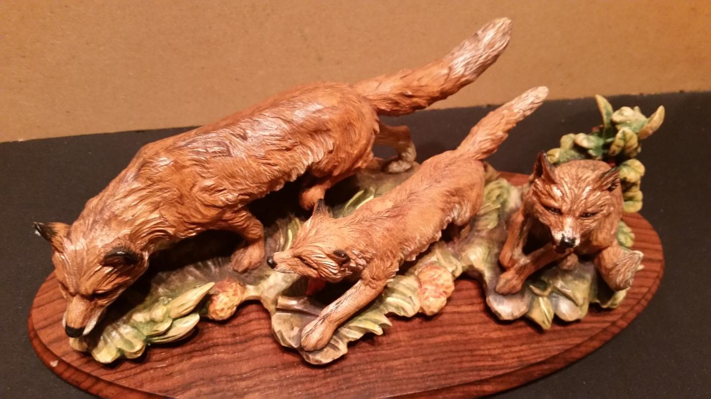 Anri The Fox Family Hand Carved by Gunther Granger