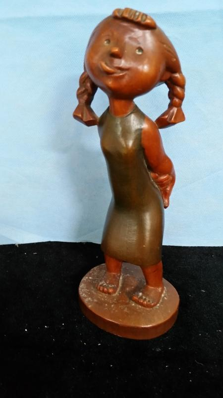 Anri Girl Sticking Tongue Out Hand Carved Italy