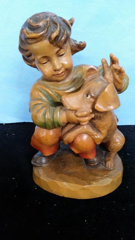 Anri 7.5 Inch Boy with Dog Hbd Carved Wood