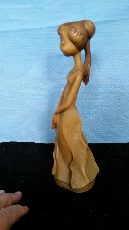 Anri 9.75 Girl with Fan Hand Carved Wood Vintage