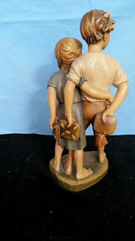 Anri Boy and Girl 10 Inch Young Love Hand Carved Wood