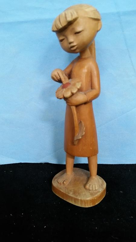 Anri 9.5 Inch Girl with Flower Hand Carved Wood