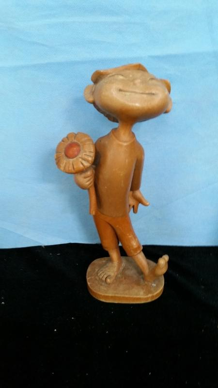 Anri Boy with Flower 9.5 Inch Hand Carved Wood
