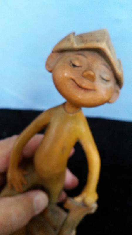 Anri 8 Inch Boy with Sword and paper Hat Hand Caarved Wood Vintage